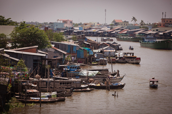 One of Vietnam's many waterways, threatened by a rising sea level.